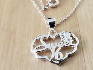 """VINTAGE COLLECTIBLE * STERLING SILVER 925 * NECKLACE 18"""" Long-SWEET 16"""