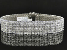 Mens Pave White Gold Finish Round Cut Real 5 Row 16 Mm Diamond Bracelet 9 Inch