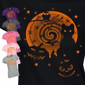 Halloween Scary Cat Girls Ladies Women Fancy Horrable Costume Dress Gift Tshirt