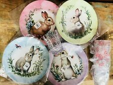 New 8 pc Pottery Barn Kids Monique Lhuillier Bunny Easter Plates Tumblers Cups