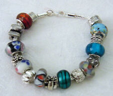 Lampwork Glass & Silver Beads Bracelet Multi-colour, New