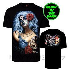 Men  T-Shirt Gothic Angel Biker Tattoo Goth Tattoo Glow In Dark Both Side Print