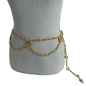 """THE LIMITED Vintage Gold Tone Baroque Belly Body Chain Belt One Size to 39"""" Coco"""