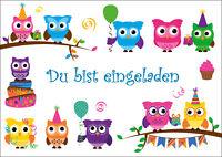 6 lustige Eulen-Einladungskarten zum Kindergeburtstag / Einladungen zur Party