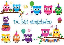 8 lustige Eulen-Einladungskarten Kindergeburtstag /Geburtstagseinladungen Kinder