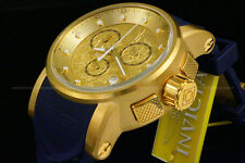 NEW Invicta S1 Dragon Yakuza 18K Gold Plated S.S Blue Dial Silicone Strap Watch