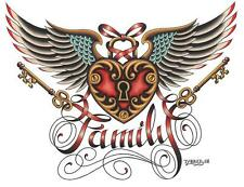 Family by Tyler Bredeweg Tattoo Art Print Vintage Heart Wings Lock and Key