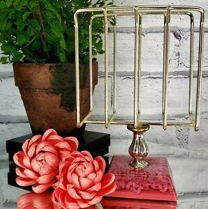 Vintage MCM 50s Pink Lucite Vanity Table Golden Finger Towel Holder Accessory