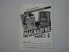 advertising Pubblicità 1937 RADIO MAGNADYNE SV 13