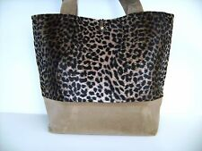 BLACK & BROWN FAUX FUR LEOPARD PRINT FAUX SUEDE PURSE TOTE HANDBAG POCKETBOOK