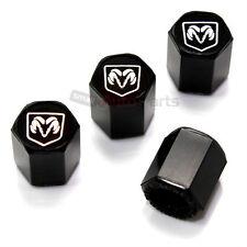 (4) Dodge Ram Silver Logo Black Tire/Wheel Air Pressure Stem Valve CAPS Covers