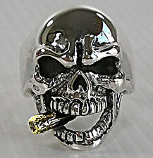 14K YELLOW GOLD PIPE SKULL 925 STERLING SILVER MENS RING 10.25 NEW GOTHIC BIKER