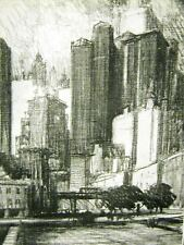 VIEW FROM COENTIES SLIP NYC 1909 Art Print Matted