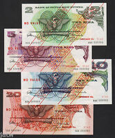 Papua New Guinea.  (1975) SPECIMEN SET : 2,5,10 & 20 Kina.. 1st Prefix Issues
