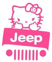 JEEP DECAL LARGE HELLO KITTY Truck Car Vinyl  Window Sticker