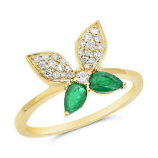Butterfly Whimsical Right Hand Cocktail Ring 14K Yellow Gold Pave Green Emerald