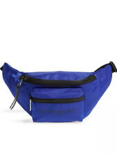 Authentic Givenchy Light 3 Logo Double Pocket Blue Belt Bag Fanny Pack