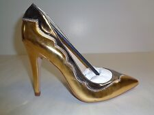 Amiana Size 8 12-10172 Gold Pewter Leather Pumps Heels New Womens Shoes