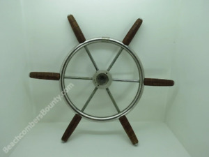 Authentic 21+5/8 inch Stainless Steel & Wood Boat Wheel -(XL9-2498)