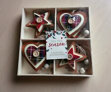 Noël 8 tartan écossais Rustique en Bois Arbre de NOel Décorations cœur étoile