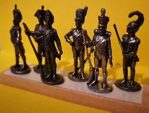 6 x Zinnfiguren, Infanterie zu Napoleons Zeit, 40 mm hoch, kompletter Satz