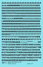 K4 HO Decals Black 3/16 Inch Bold Gothic Letter Number Alphabet Set