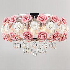 Modern Rose Crystal LED Ceiling Light Fixture Pendant Lamp Lighting Chandelier