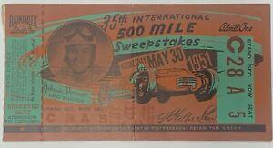 Vintage 35th 1951 Indianapolis International 500 Mile Sweepstakes Ticket Stub