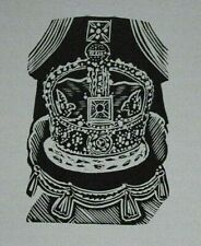 QUEEN'S CROWN JEWELS By John O'Connor - Print of a Woodcut