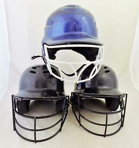 Lot of 3 Youth Baseball Batting Helmets with Face Guards  Rawlings All Star