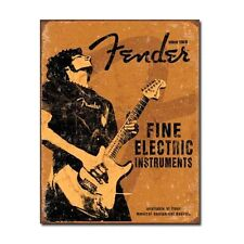 Fender Rock On Guitar Fine Electric Instruments Distressed Retro Metal Tin Sign