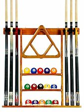6 Pool Cue - Billiard Stick Wall Rack Made of Wood