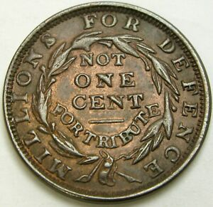 USA Millions for Defence Not 1 Cent for Tribute 1841 Hard Times Token - XF -250*