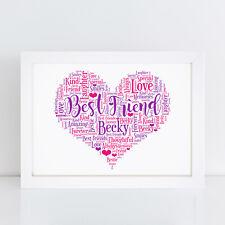 Personalised Best Friend Bestie Friendship Heart Print Birthday Thank You Gifts