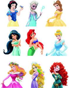Disney princess  logos Figures A4 & A3 Edible Wafer Icing Cake Topper