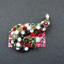 Jewelry Charm Brooch Pin Gift Betsey Johnson Multi-Color Crystal Rhinestone