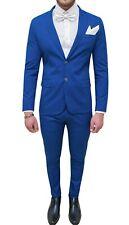 Abito uomo sartoriale blu slim fit in cotone vestito completo elegante cerimonia