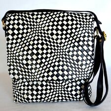 Vera Pelle Italy Leather Crossbody Shoulder Bag Black White Woven Modern Purse