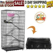 "77"" Extra Large 6-Levels Ferret Guinea Pig Sugar Glider Rat Mice Degu Cage Bk"