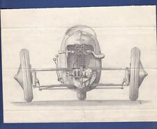 14 vintage original drawings three wheels JAP motor cyclecar 3 car bike ca 1930