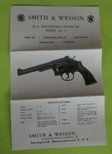 SMITH AND WESSON K-22 MASTERPIECE REVOLVER MODEL NO. 17 OWNER'S MANUAL,DATE 3/67