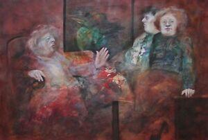 Karin Jarosynska Signed Original Mixed Media Painting-Surreal Figures & Bird