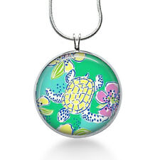 Turtle necklace - lilly pulitzer fabric- green, animal pendant, turtle jewelry