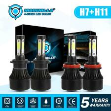 4 sides Combo H11 H7 LED Headlight Bulbs Kit High Low Beam Total 3800W 570000LM