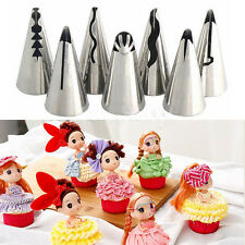 7 pcs/lot Barbie Dolls Dress Korean Bobbi Ruffle Icing Piping Tips Stainless FT