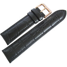 22mm Mens Fluco Black Crocodile-Grain Leather ROSE GOLD Buckle Watch Band Strap
