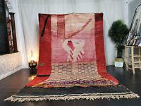 "Handmade Moroccan Vintage Boujad Rug 6'6""x10'3 Berber Abstract Red Pink Wool Rug"
