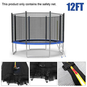 12FT 8 Pole Trampoline Replacement Safety Net Enclosure Surround Outside Netting