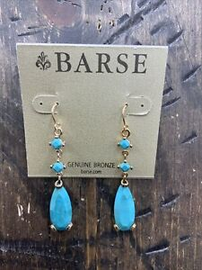 Barse Trail Of Tears Turquoise Earrings- Bronze- New With Tags