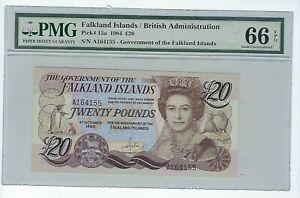 FALKLAND ISLANDS £20 P15a 1984 PMG 66 EPQ Gem Unc